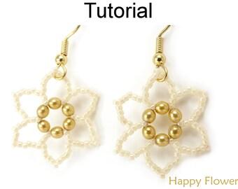 Beading Tutorial Pattern - Easy Beginner Jewelry Making - Beaded Earrings - Flower Jewelry - Simple Bead Patterns - Happy Flowers #417