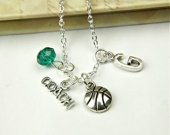 Personalized Basketball Coach Necklace with Your Initial and Birthstone