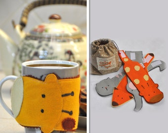 Set of felt mug, Cup warmer, Animal mug cozy, Felt mug cozy,Reusable cup warmer, Kids mug cozy, Set of cute mug cozy, Felt cup sleeve