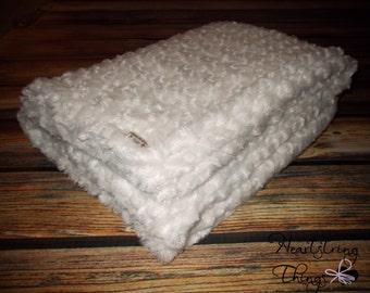 Minky Blanket, Cream Blanket, Blessing Blanket, Ivory, Rosebud Minky, Baptism Blanket, Baby Blanket, Baby Gift, Baby shower, Soft Blanket