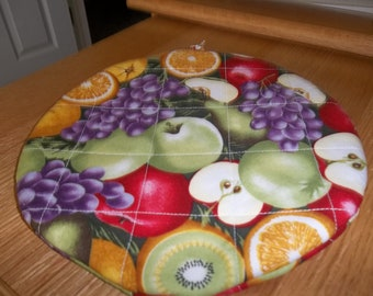 Quilted Pot Holders, Mixed Fruit, Potholders, Quilted Hot Pad, Round, Double Insulated, Trivet, Cotton Fabric, 9 Inches, Gift