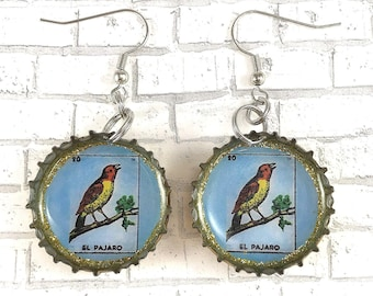 El Pajaro Upcycled Jewelry Mexican Loteria Beer Cap Earrings Loteria Earrings Recycled Bottle Caps Repurposed Earrings Bottle Cap Earrings