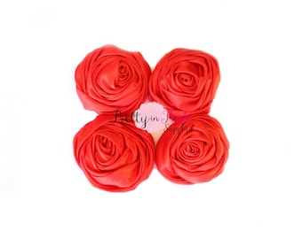 Red Satin TWISTED Rosettes- You Choose Quantity- Rolled Rosettes- Rolled Rosettes- PrettyinPinkSupply- DIY Supply Shop