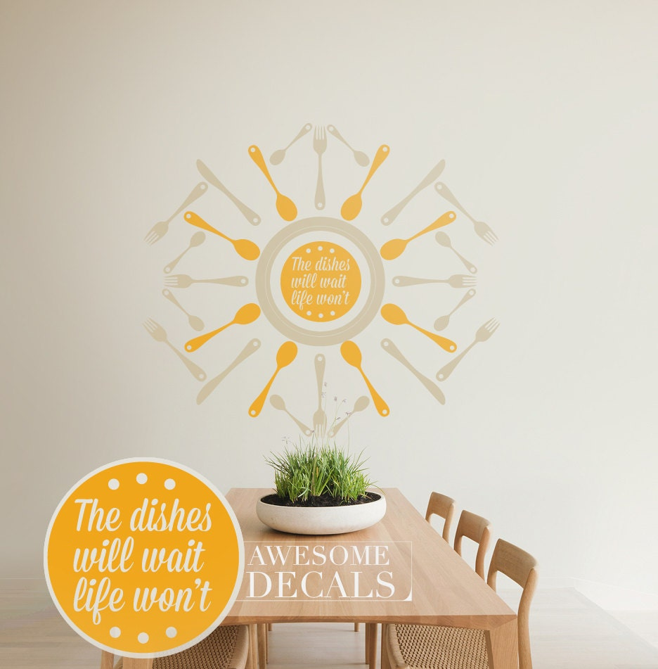Kitchen Wall Decal Quote Vinyl Wall Decal Custom Wall Art - Custom vinyl wall decals circles