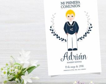 Custom Printable Holy First Communion Card Navy Boy Postcard, Print, Eucharist, Celebration, Catholic
