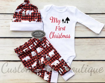 Baby Boys First Christmas Outfit, Red,Black And White Buffalo Plaid Woodland Cabin Print Pants & Hat,Baby Boy's 1st Christmas, Baby Boy Set
