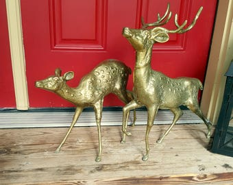 "2 LARGE BRASS DEER 19"" Hollywood Regency Deer Sculpture Doe & Buck Man Cave 1960s Deer Statue Christmas Reindeer Woodland Wedding Prop"