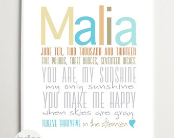 You are my sunshine Birth Announcement, Custom Baby Girl gifts Baby Name Sign, Baby shower gift, Nursery Wall Art Personalized Baby gifts