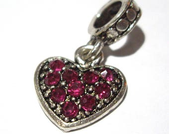 Valentine's day Red gem heart dangle