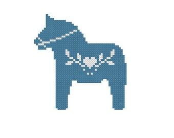 Cross stitch pattern, dala horse needlepoint, nordic folk art