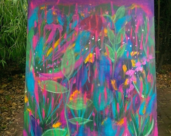 abstract jungle painting, abstract rainforest, abstract nature, fluoro pink, origonal painting, turquoise pink, nature inspired, colourful