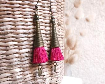 Boho earrings pink tassel, Girlfriend gift, Gypsy everyday dangle, Long fringe jewelry for woman Lightweight bohemian jewel for her birthday