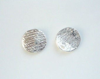 NEW  2 pcs Sterling silver,  textured disk, charm ( 10mm)