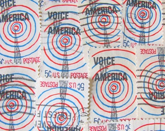 Voice of America 30 Vintage US Postage Stamps Radio Information Agency 60s Design Mod Red White Blue Spiral Scrapbooking Ephemera Philately
