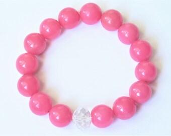 Bubble Gum Pink Jade Bracelet, big Mountain Jade stretch bracelet 1103 B