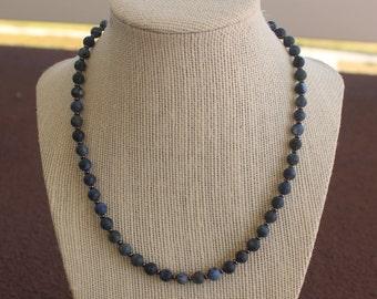 Denim Lapis Beaded Necklace