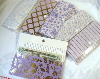 Cash Envelopes System Wallets, Snap Closure, Envelope System, Purple and Gold, Budget Envelopes System, Wallet With Snap, Womens Wallet