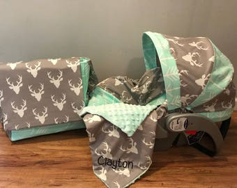 3 piece Mint Arrows  & Gray mist buck Deer on-the-go diaper bag and baby car seat cover set with minky blankie and free monograms hunter tri
