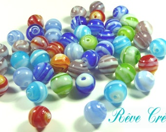20pcs Handmade Lampwork Beads, Round, Mixed Color, 12mm, Hole: 1~2mm