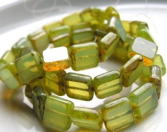 Watery Green Window Square 10mm Glass Beads  15