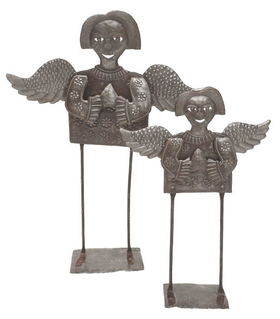 Standing Folk Angels (set of 2), Christmas Holiday Indoor and Outdoor Decor