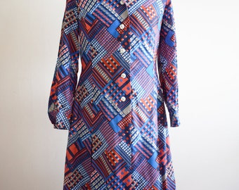 1970s Blue and Red Abstract Day Dress, Approx Size 16