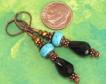 Black Gold Crystal Blue Howlite Teardrop Copper Tone Lever Back Earrings Boho