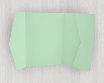 10 Horizontal Pocket Enclosures - Mint & Light Green - DIY Invitations - Invitation Enclosures for Weddings and Other Events