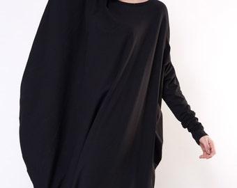 Asymmetrical Designer Dress / Asymmetrical dress / Black jersey dress / Viscose Dress / Long Sleeve Dress / Jersey dress