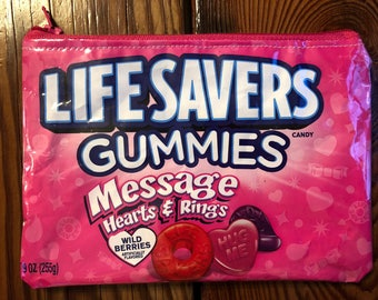 Recycled Candy Wrapper LIFESAVERS Gummy Bag. Candy Vinyl Purse. Gummies. Valentine's Day Gift. Candy Bag. Chewy Candies. Accessory Case.