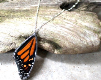 Real Monarch Butterfly Wing Pendant, Real Butterfly Jewelry