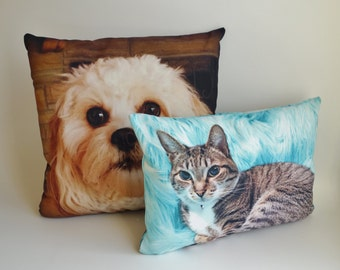 Custom Pet Photo Pillow, Gift for Cat Lover, Rectangular Throw Pillow