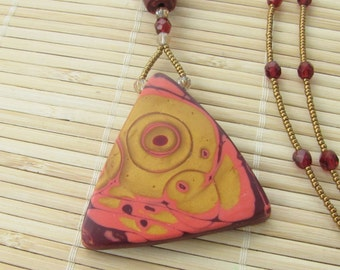 Geometric Triangle Pendant Beaded Necklace - Gold and Wine Contemporary Jewelry for Women