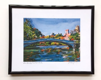 New York Art Bow Bridge Central Park, New York City framed art ready to hang, 8x10  NYC painting by Gwen Meyerson