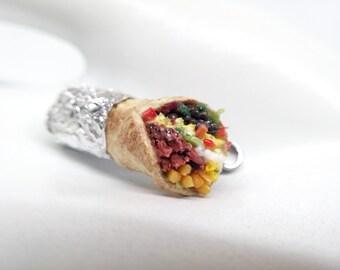 Burrito Charm, Breakfast Burrito Charm,  Burrito Necklace, Beef Burrito Charm, Food Necklace, Miniature Food Jewelry, Food Charms