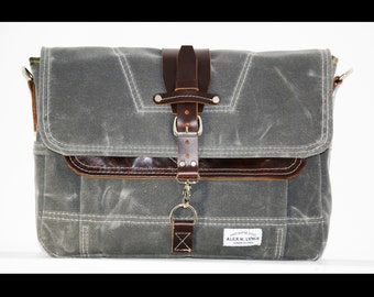 Waxed Canvas Messenger bag - handmade - CHARCOAL + leather accents + brown shoulder strap 010026