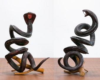 Rare Wooden Cobra Sculpture // Vintage, Hand Carved Wood, Seed // 1960's, Snake Carving, Psychedelic, Mid-Century, Retro, Hipster