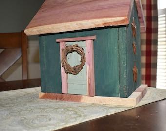 CLEARANCE   Handmade Primitive Birdhouse - Hunter Green with Wreath & Rusty Stars - Solid Cedar