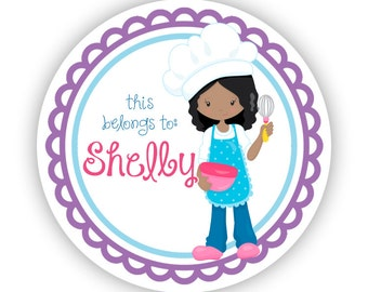 Name Label Stickers - Purple Blue Baker Girl, Fun Baking Personalized Name Tag Sticker Labels, This Belongs To - Back to School Name Labels