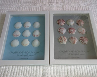 Christian Coastal WORD Art with Calico Shells & Bible Verse on Blue or Grey Gray Linen Give Thanks to the Lord