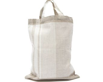 100 % Linen Shopping Bag Stripes, Linen Tote Bag
