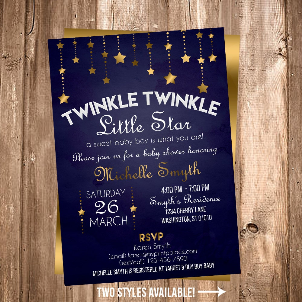 Twinkle little star boy baby shower blue and gold navy blue zoom filmwisefo Gallery