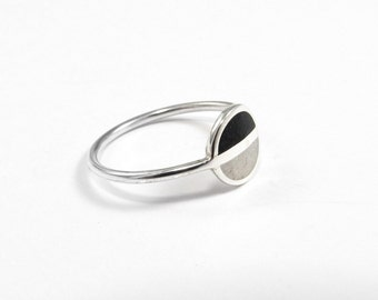 Saturn, Minimalist Ring, Sterling Silver Minimal Ring, Modern, Black, White, Contemporary Jewelry