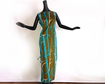 "Vintage 60s Hawaiian Maxi Dress 1960s 1970s Tiki Oasis Hukilau Hawaii Beach Wedding Turquoise & Olive MOD Bamboo Print Size Medium 36"" Bust"