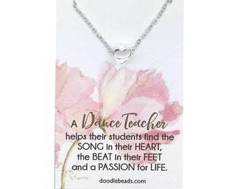 Dance Teacher gifts, Tiny Gold or Silver Heart Necklace, Dance Instructor Thank you, carded gift with message