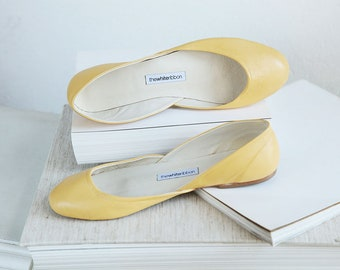Last Pair eu 43 | Pastel Yellow Leather Ballet Flats | Bridal Wedding Shoes | Pointe Style Shoes | Butter Yellow | Ready to Ship