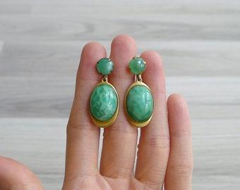 Vintage 60's Jade Green Oval Dangling Earrings (Screwback)
