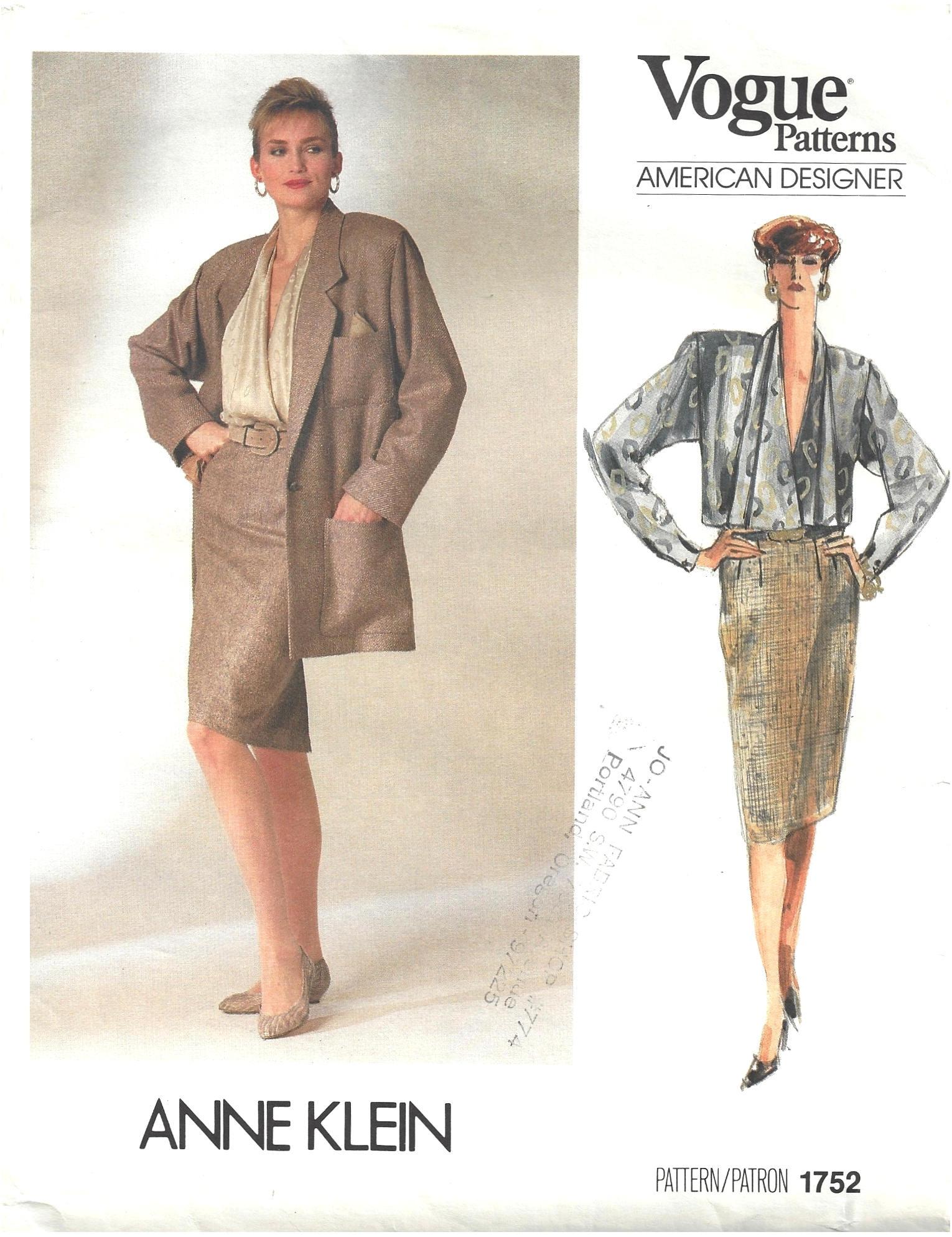 Vintage 80er Jahre Vogue 1752 amerikanische Designer Nähen Muster ...