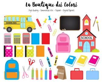 Kids Back to School Clipart, Digital illustrations PNG, Study, School Clip art, Teachers Planner Stickers Commercial Use