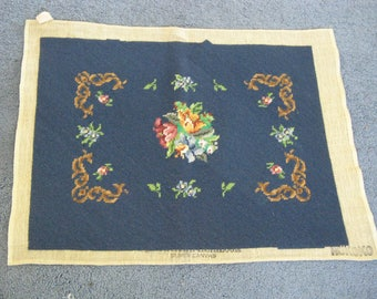 Spectacular Finished Needlepoint  ~~ Vintage Finished Needlepoint